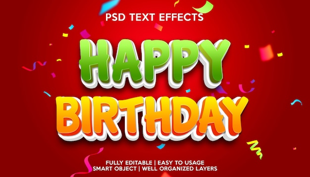 Modello di effetto testo di buon compleanno