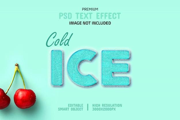 Modello di effetto testo ghiaccio freddo
