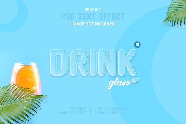 Modello di effetto testo modificabile bevanda estiva in vetro