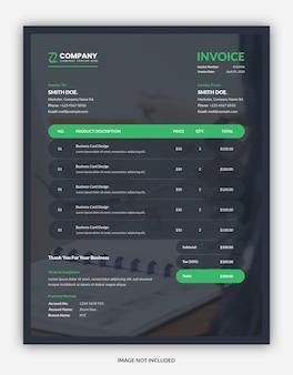 Modello di fattura aziendale scuro creativo con supporto immagine