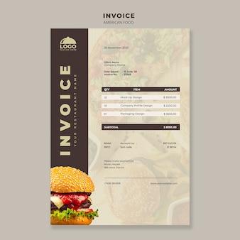 Modello di fattura burger