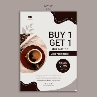 Modello di fattura del caffè con offerta