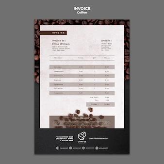 Modello di fattura della caffetteria
