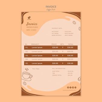 Modello di fattura di coffeein coffee pack