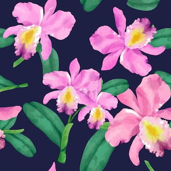 Modello di fiore orchidea disegnato a mano