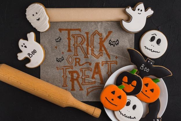 Modello di halloween con il concetto della cucina
