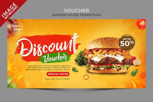 Modello di hamburger buono sconto banner