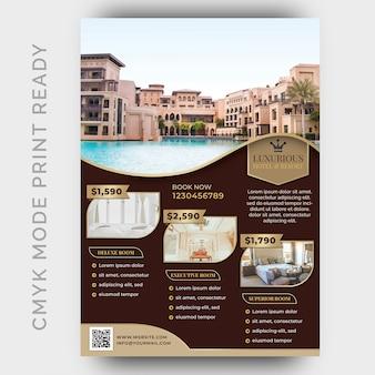 Modello di hotel di lusso per poster, flyer