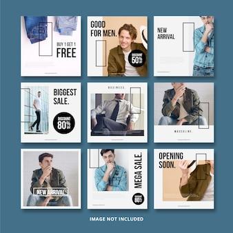 Modello di instagram banner social media maschile di vendita di moda