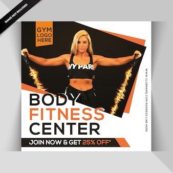 Modello di instagram body fitness o flyer quadrato