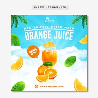Modello di instagram di social media per menu di bevande estive