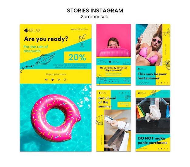 Modello di instagram di storie estive