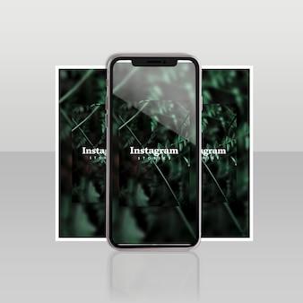 Modello di instagram post con smartphone e concetto floreale