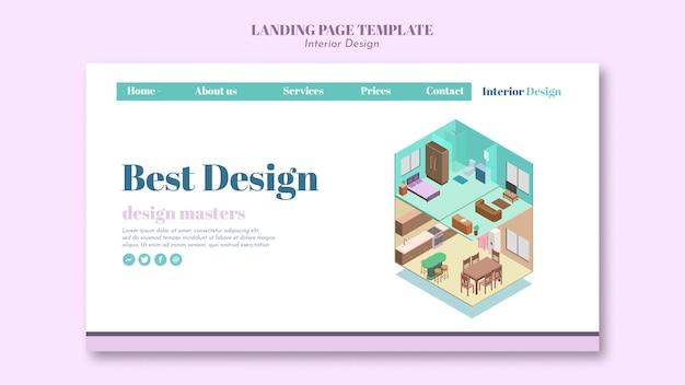 Modello di interior design della pagina di destinazione