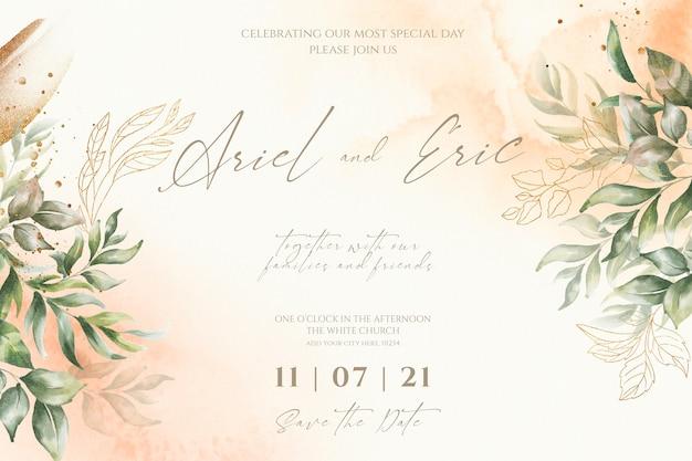 Modello di invito a nozze con foglie di acquerello