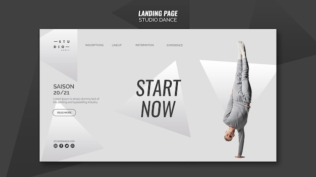 Modello di landing page dance studio