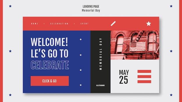 Modello di landing page del memorial day