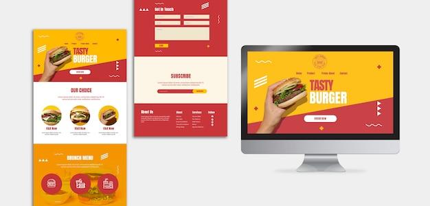 Modello di landing page di cibo americano hamburger