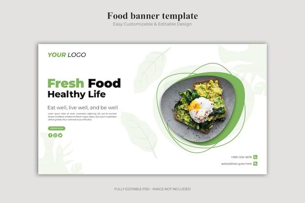 Modello di landing page di cibo fresco e vita sana