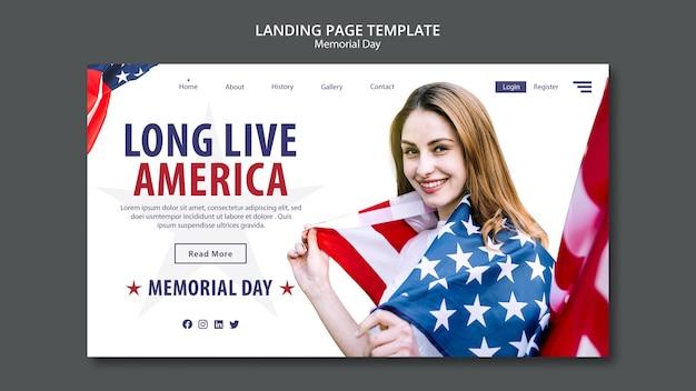 Modello di landing page di concetto di memorial day