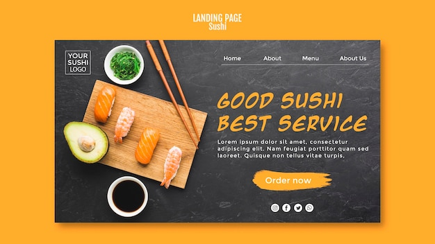 Modello di landing page di sushi