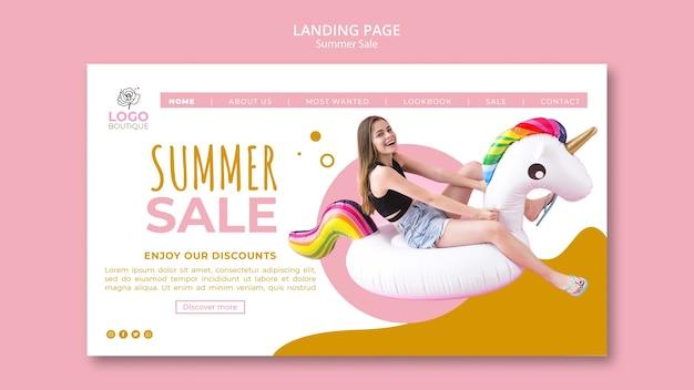 Modello di landing page di vendita estiva