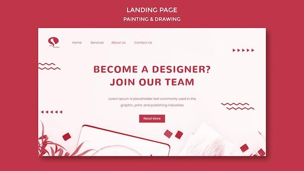 Modello di landing page disegno e pittura di design