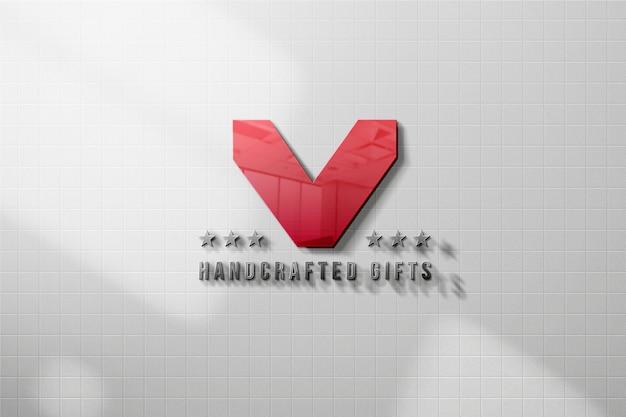 Modello di logo 3d sulla parete