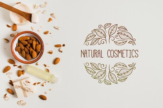 Modello di logo di cosmetici naturali piatti laici