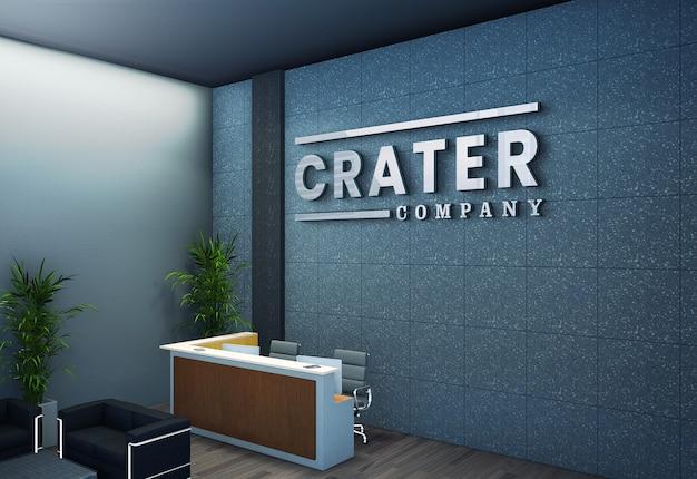 Modello di logo sulla parete di ricezione dell'ufficio corporativo 3d