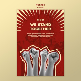 Modello di manifesto con protesta per i diritti umani