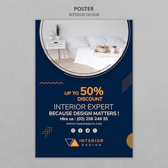 Modello di manifesto creativo interior design