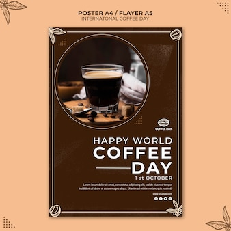 Modello di manifesto del concetto di giornata internazionale del caffè