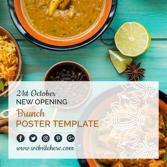 Modello di manifesto di cibo indiano moderno