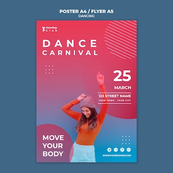 Modello di manifesto di danza colorata