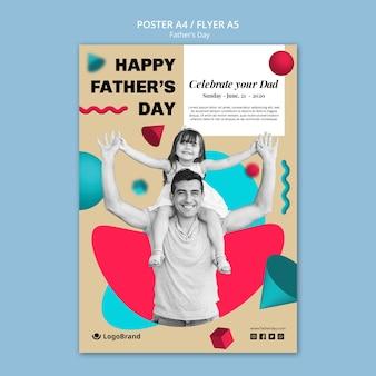 Modello di manifesto di papà e figlia festa del papà