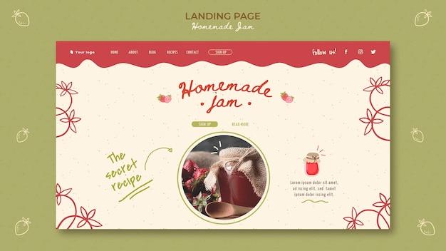 Modello di marmellata fatta in casa pagina di destinazione