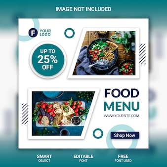 Modello di menu alimentare post di instagram
