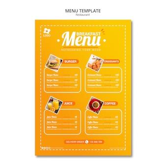 Modello di menu attraente ristorante online