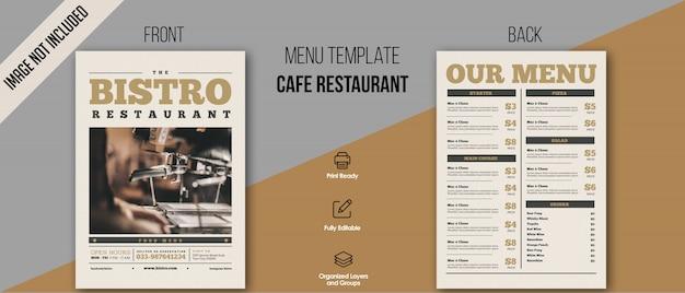 Modello di menu bistrot