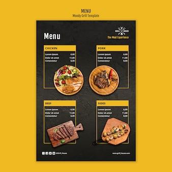 Modello di menu casa grill