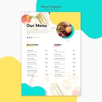 Modello di menu cibo americano