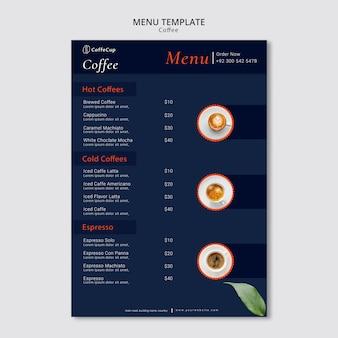Modello di menu con caffè