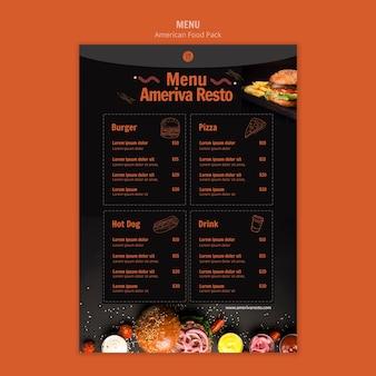 Modello di menu con cibo americano