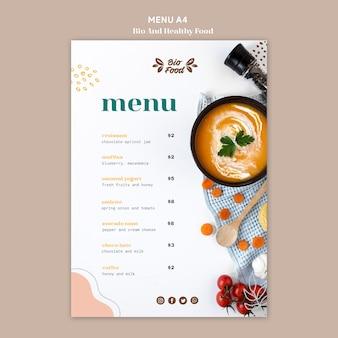 Modello di menu con cibo sano
