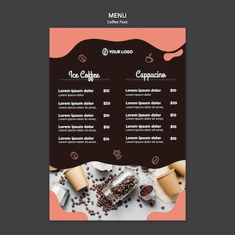 Modello di menu con design di caffè