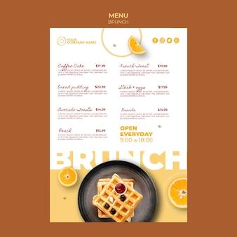 Modello di menu con il concetto di brunch