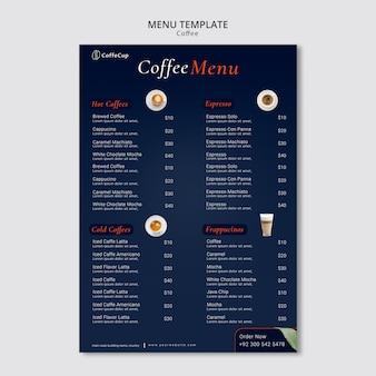 Modello di menu con il concetto di caffè