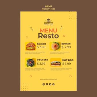 Modello di menu con il concetto di cibo americano