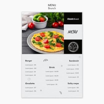 Modello di menu concetto di brunch